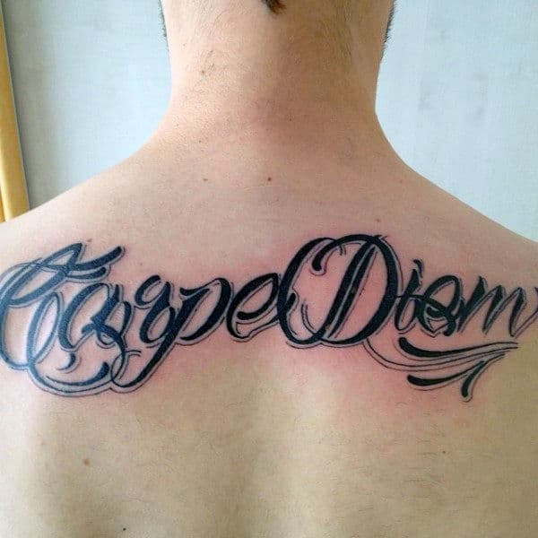Unique Carpe Diem Black Ink Guys Back Tattoos