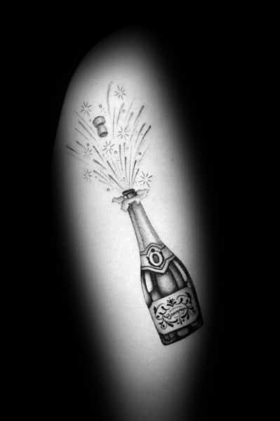 Unique Champagne Tattoos For Men