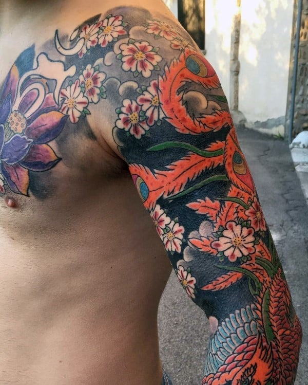 Unique Cherry Blossom Sleeve Tattoos For Guys