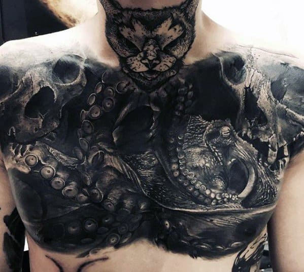 Unique Chest Skulls With Octopus 3d Tattoo For Men