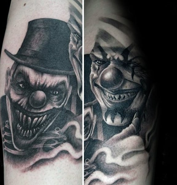 Unique Clown Shaded Black And Grey Ink Mens Tattoos