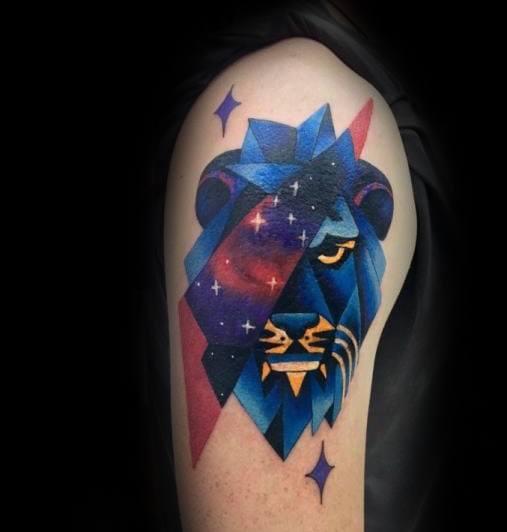 Unique Colorful Mens Modern Arm Geometric Lion Tattoos