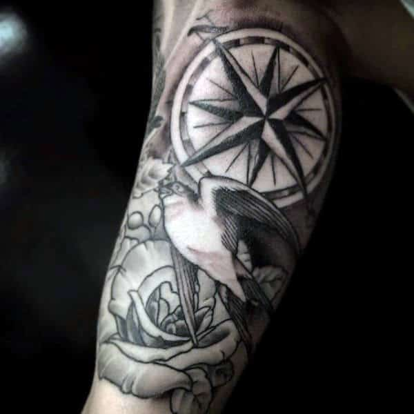 Unique Compass Rose And Sparrow Tattoo Male Forearms