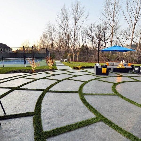 Unique Concrete Slab Modern Cool Backyard Ideas With Tennis Court
