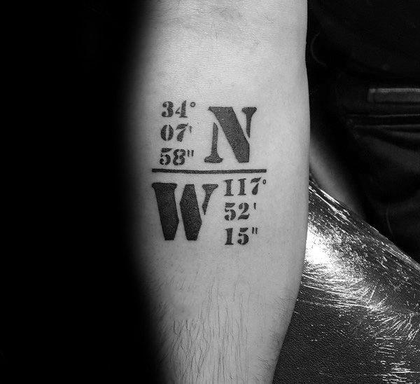 Unique Coordinate Tattoos For Men