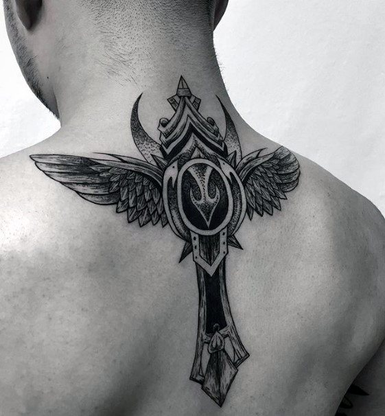 Unique Cross Male Upper Back Tattoo Designs