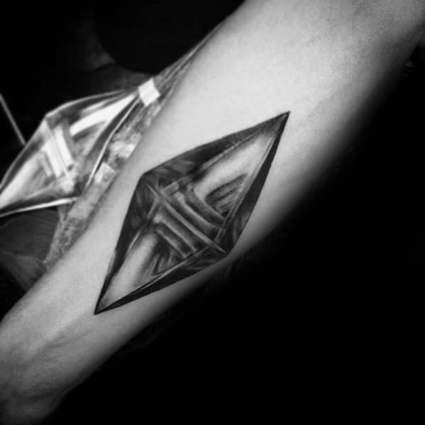 Unique Crystal Inner Forearm Tattoo Designs For Men