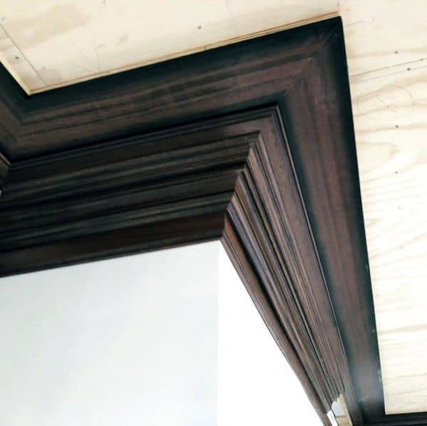 Unique Dark Brown Stained Wood Crown Molding
