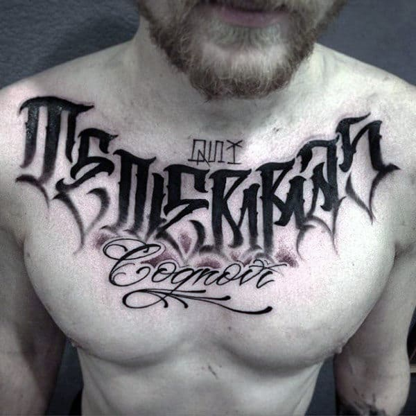 Unique Dark Lettering Tattoo Male Chest