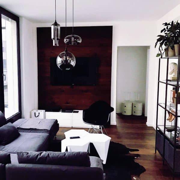 Unique Dark Wood Great Room Tv Wall Designs