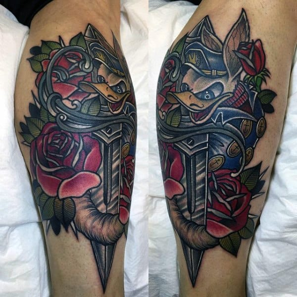 Unique Detailed Duck And Knife With Roses Tattoo On Male
