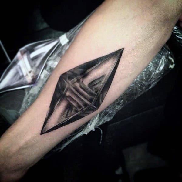 Unique Diamond Shape Design Tattoo On Mans Inner Forearm