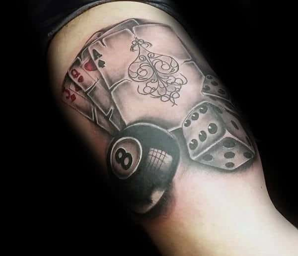 Unique Dice With 8 Ball And Cards Male Bicep Tattoos
