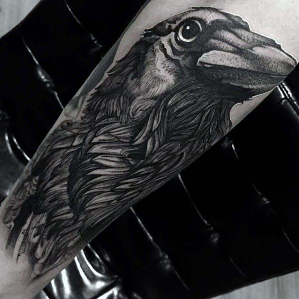 Unique Dotwork Guys Black And Grey Crow Leg Tattoos