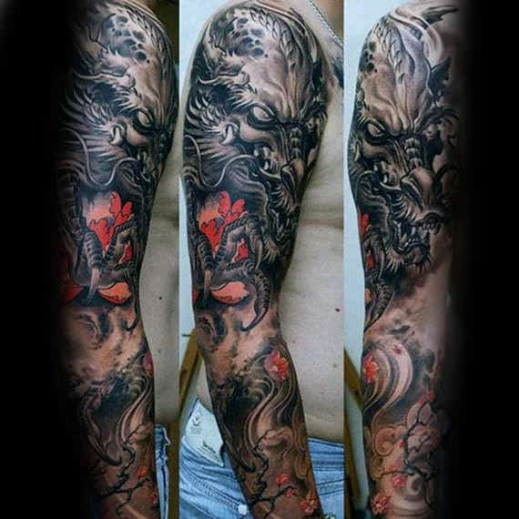 Unique Dragon Full Arm Guys Tattoo Inspiration