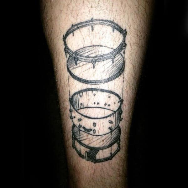 Unique Drum Diagram Guys Leg Tattoo
