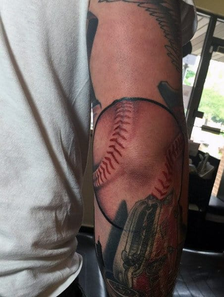 Unique Elbow Tattoos For Guys Of Baseball