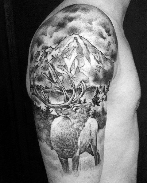Unique Elk Tattoos For Men