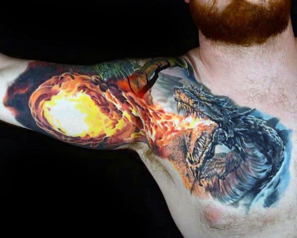 Unique Fire Breathing Dragon Mens Chest And Inner Arm Bicep 3d Tattoo
