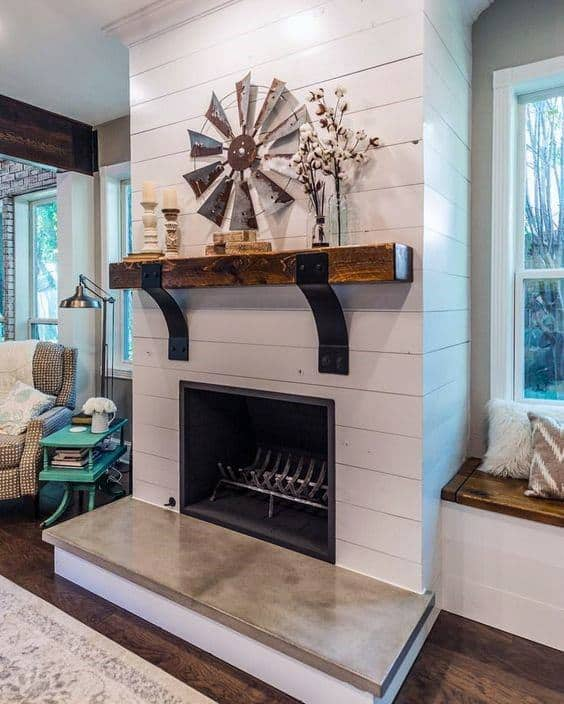 Unique Fireplace Mantel Design White Wall