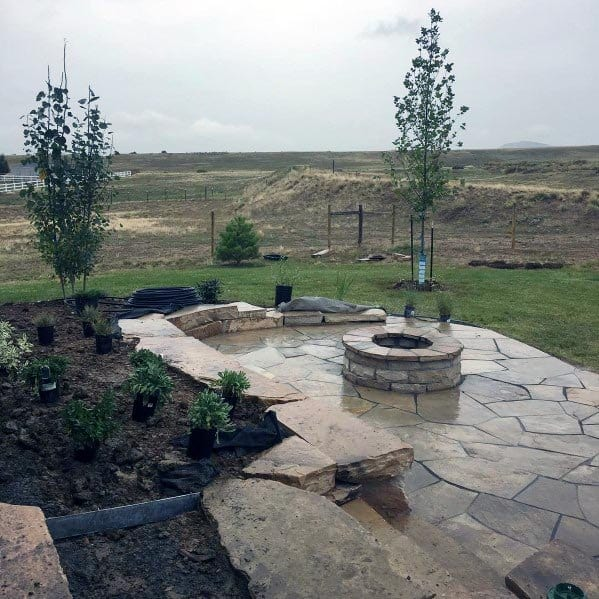 Unique Flagstone Fire Pit Patio