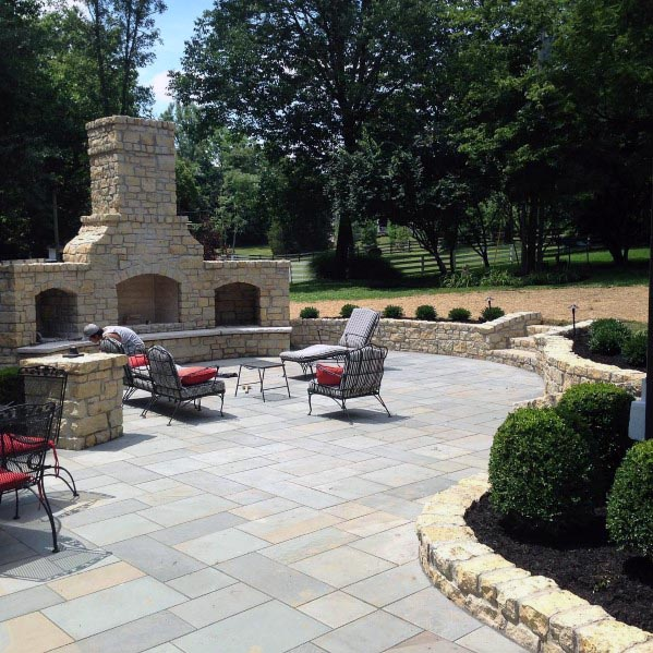 Unique Flagstone Fireplace Patio Designs