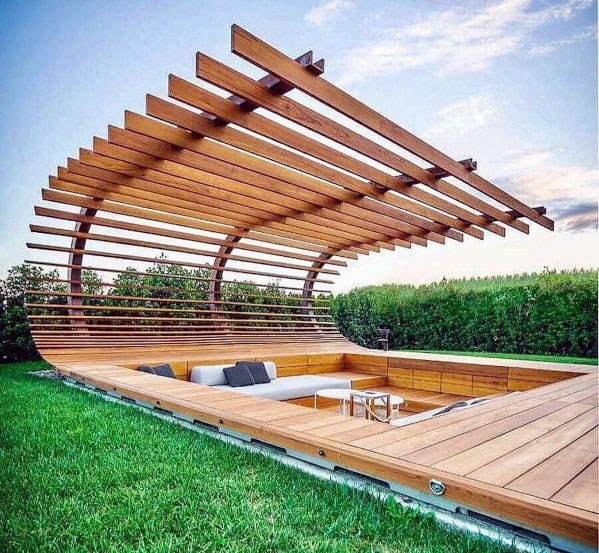Unique Floating Deck Home Ideas With Curved Wood Roof