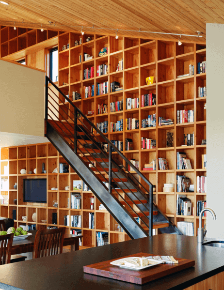 Unique Floor To Ceiling Staircase Wood Bookshelves