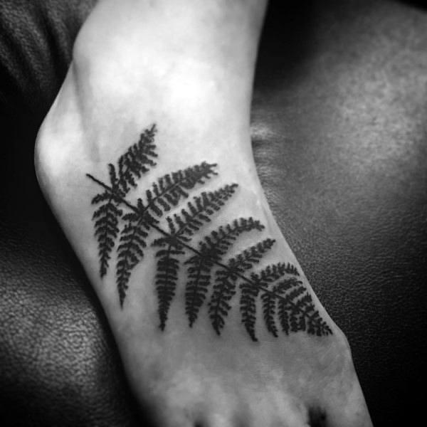 Unique Foot Fern Tattoo On Man