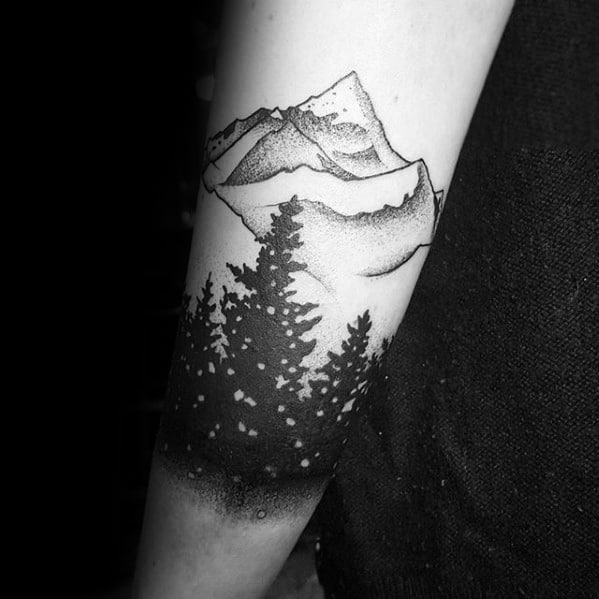 Unique Forearm Band Mens Nature Trees With Mountain Tree