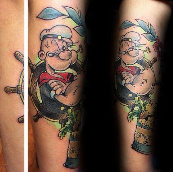 Unique Forearm Popeye Anchor Tattoo With Can Of Spinach