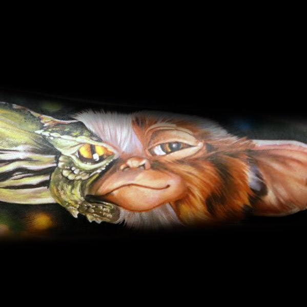 Unique Forearm Sleeve Gremlin Tattoos For Men