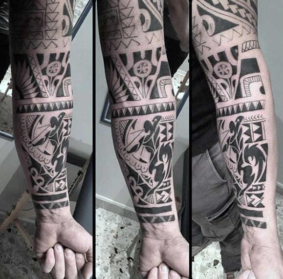Unique Forearm Tribal Warrior Tattoos For Guys
