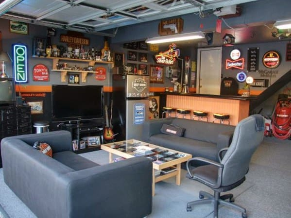 60 cool man cave ideas for men manly space designs for Cool car garage ideas