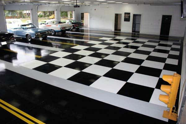 Unique Garage Flooring Black And White Checkered Design Epoxy