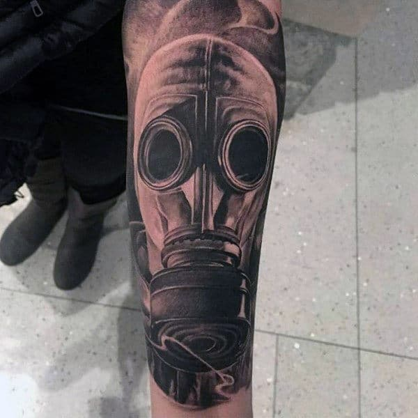 Unique Gas Mask Inner Forearm Mens Tattoo Ideas