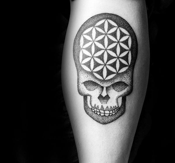 Unique Geometric Flower Of Life Skull Small Leg Tattoos For Men
