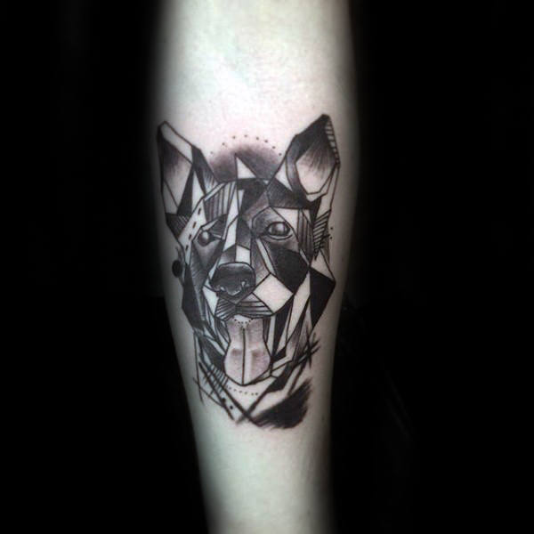 Unique Geometric Mens German Shepherd Dog Inner Forearm Tattoo Designs