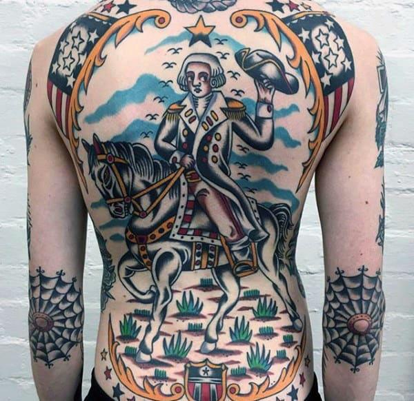 Unique George Washington Traditional Back Guys Tattoos