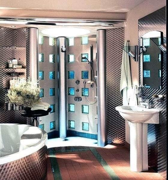 Unique Glass Block Designs Bathroom