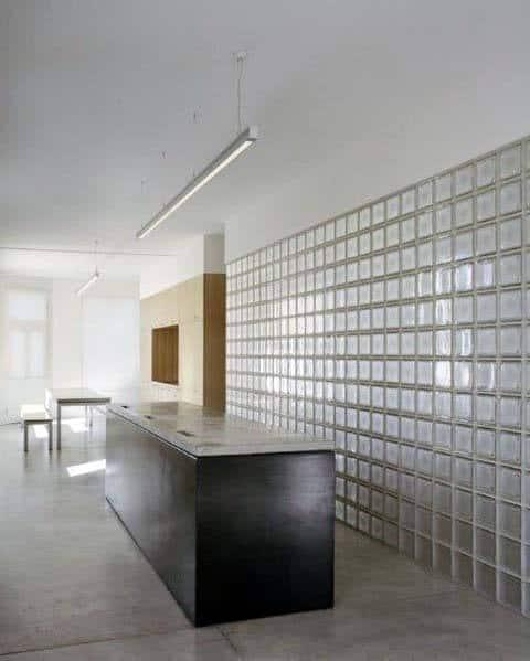 Unique Glass Block Kitchen Wall
