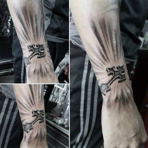 unique-glowing-cross-guys-small-3d-cross-tattoo-designs-on-outer-forearm