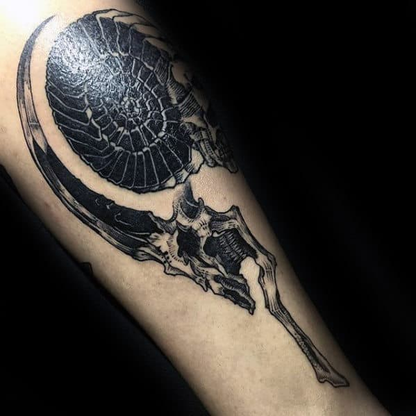Unique Goat Skull Inner Forearm Tattoos For Men
