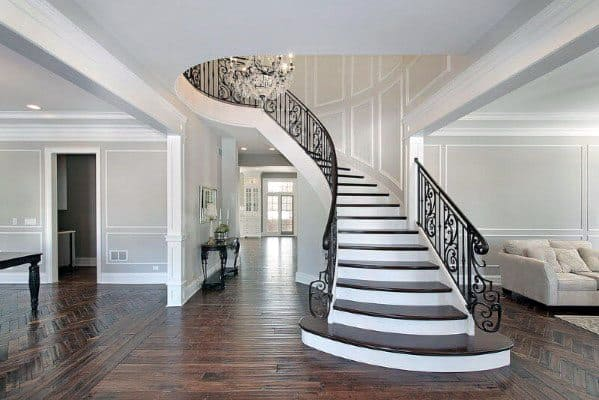 Unique Grand Entrance Wood Stairs Designs