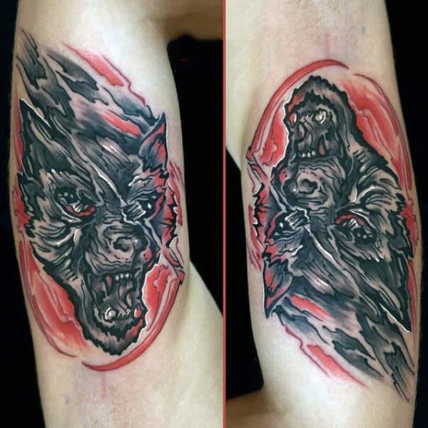 Unique Graphic Art Werewolf Tattoo Mens Arms