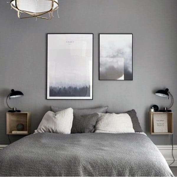 Teen S Bedroom With Feature Grey Wall And Monochrome Bed Linen: Top 60 Best Grey Bedroom Ideas