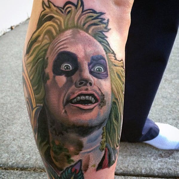 Unique Guys Beetlejuice Leg Tattoo Designs