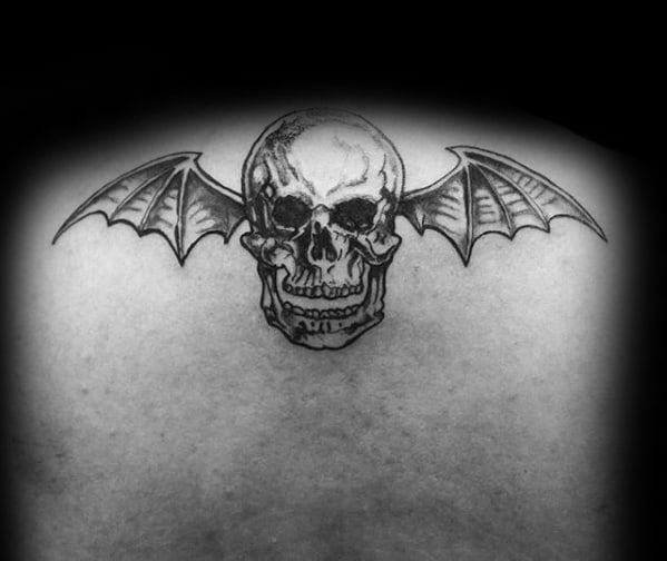 Unique Guys Black Ink Deathbat Avenged Sevenfold Tattoo Designs On Back