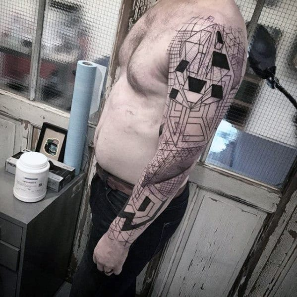 Unique Guys Black Ink Geometric Awesome Arm Tattoo Ideas