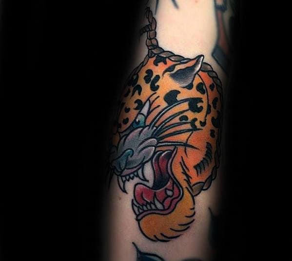 Unique Guys Cheetah Head Orange Ink Forearm Tattoo